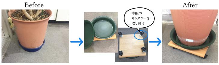 植木鉢をキャスター化