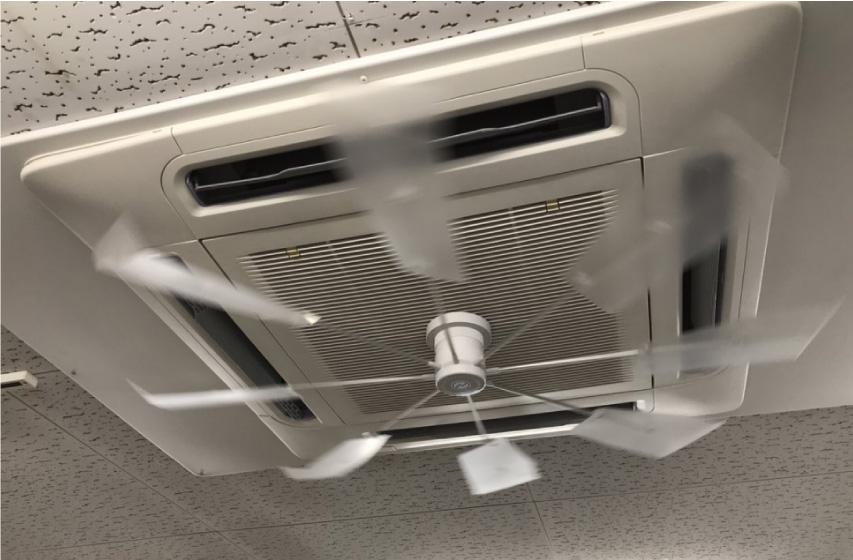 冷暖直撃風の防止ファン