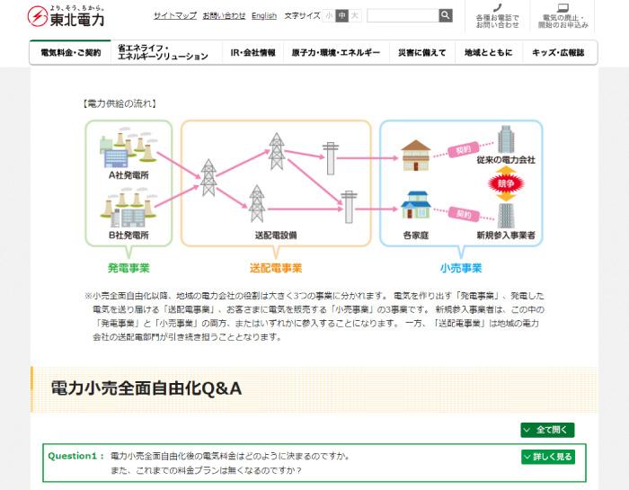 東北電力Webサイト